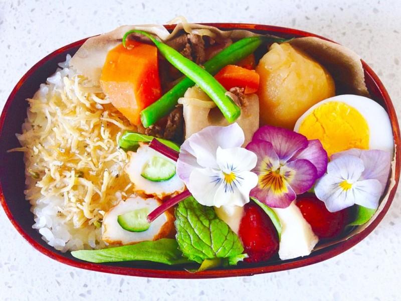 【BENTO】ホワイトデー みんな大好き肉じゃがと苺とお花の入った春のお弁当